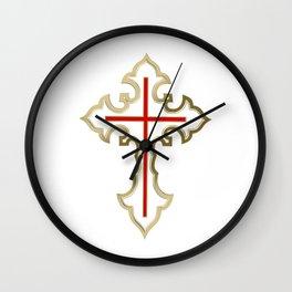 Golden Christian cross Wall Clock