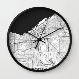 Cleveland Map Gray Wall Clock