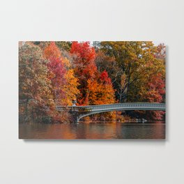 Autumn Color of Bow Bridge in Central Park New York City Metal Print