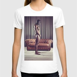 Naked Man with mask standing in front of a sofa T-shirt