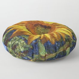 Sunflower In Van Gogh Style Floor Pillow