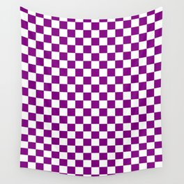 Small Checkered - White and Purple Violet Wall Tapestry