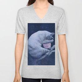 Cuddly Moon Cat Unisex V-Neck