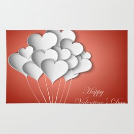 Balloons hearts from paper Valentine's Day Rug