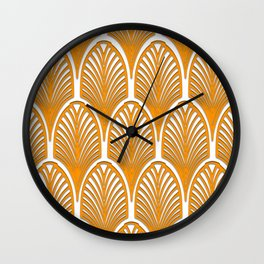 Orange,white,art deco, vintage,fan pattern, art nouveau, vintage, Wall Clock