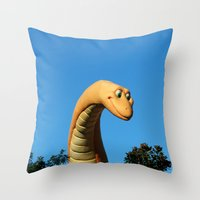 dinosaur Throw Pillows featuring Dinosaur by Ink and Paint Studio