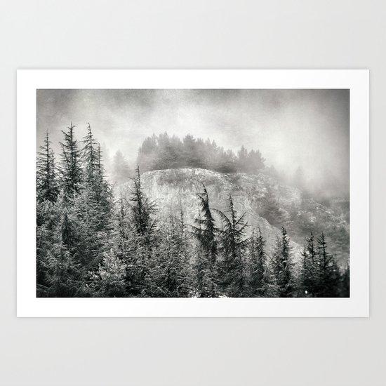 """Mountain light"". Foggy forest. Art Print"