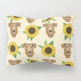 Airedale Terrier Sunflower floral print cute dogs and flowers design Pillow Sham