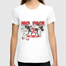 No Dice MEDIUM White Womens Fitted Tee