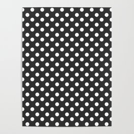 Charcoal Gray and White Polka Dot Pattern Poster