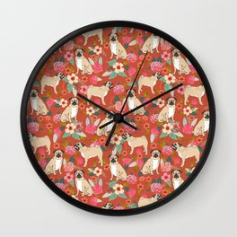 Pug dog breed floral must have cute pugs pure breed pet gifts Wall Clock