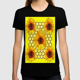 Decorative Yellow Sunflowers Honeycomb Pattern Art T-shirt
