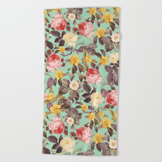 Classic Floral Pattern Beach Towel
