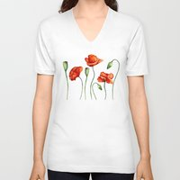 poppies V-neck T-shirts featuring Poppies by Julia Badeeva