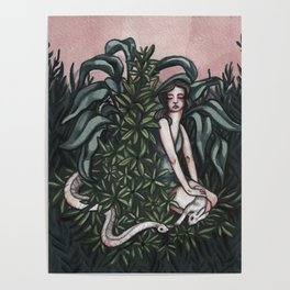 Death, a rabbit, and a woman in a garden Poster