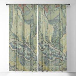 "Vincent Van Gogh ""Emperor Moth (The giant peacock moth)"" Sheer Curtain"