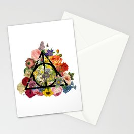 Floral Deathly Hallows - Black Stationery Cards