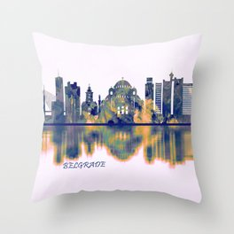 Belgrade Skyline Throw Pillow