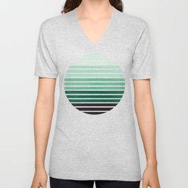 Deep Green Mid Century Modern Minimalist Scandinavian Colorful Stripes Geometric Pattern Round Circl Unisex V-Neck