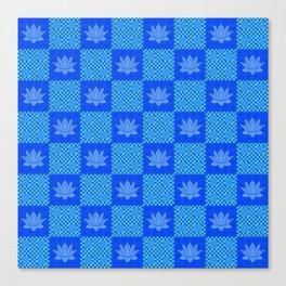 Retro Blue Lotus Checkerboard Canvas Print