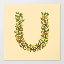 Leafy Letter U Canvas Print