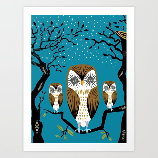 Three Lazy Owls Art Print