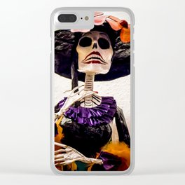 Day of the Dead Large Skeleton Lady with Purple and Black Dress and Orange Feather Shawl Clear iPhone Case