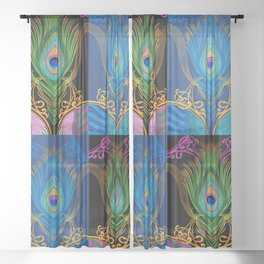 Peacock Feather-black-background Sheer Curtain