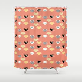 Kitties - Coral Shower Curtain