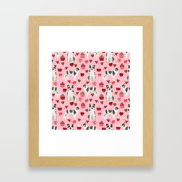 Border Collie valentines day cupcakes love hearts dog breed gifts collies herding dogs pet friendly Framed Art Print