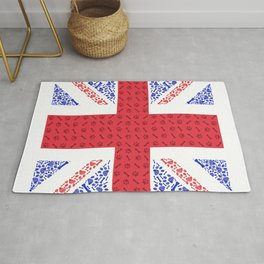 England flag made of doodle blue and red paw print Rug