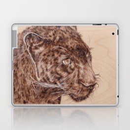 Black Panther Portrait - Drawing by Burning on Wood - Pyrography Art Laptop & iPad Skin