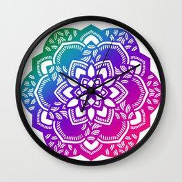 Bright jewel tones mandala Wall Clock