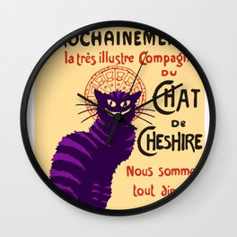 Cheshire Cat 'chat noir' poster Wall Clock
