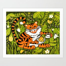 Tiger teatime Art Print