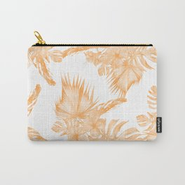 Island Vacation Hibiscus Palm Coral Orange Carry-All Pouch