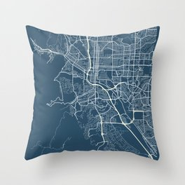 Colorado Springs Blueprint Street Map, Colorado Springs Colour Map Prints Throw Pillow
