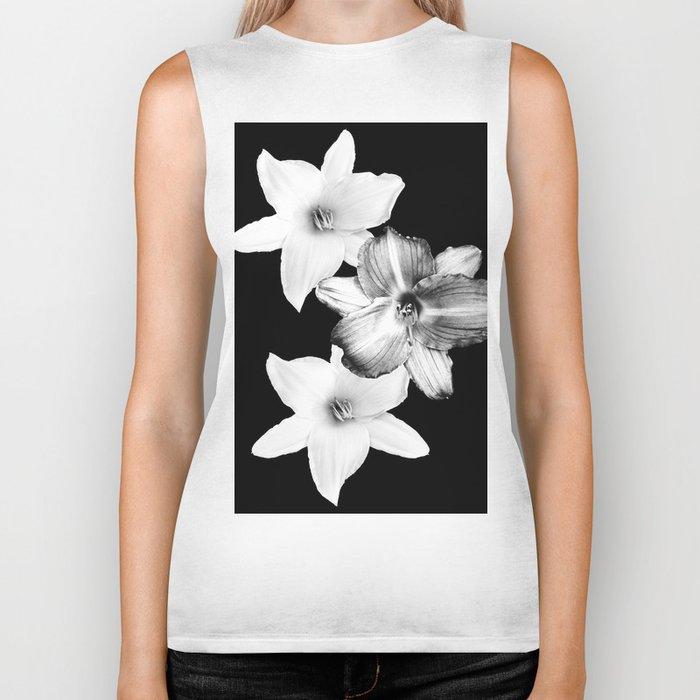 White Lilies on Black #1 #floral #decor #art #society6 Biker Tank