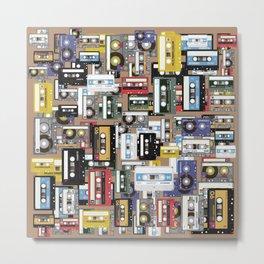 Retro cassette tape pattern Metal Print