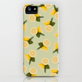 Yellow Citrus Lemon Fruit on Pale Lime Green iPhone Case