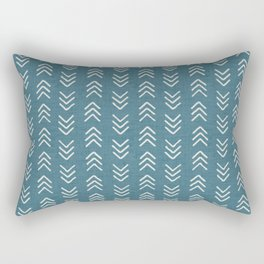 Muted teal and soft white ink brushed arrow heads pattern with textured background Rectangular Pillow