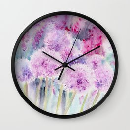 Alliums and Foxgloves Wall Clock