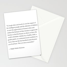 Ralph Waldo Emerson quote. To laugh often and much... Stationery Cards