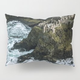 Castle ruin by the irish sea - Landscape Photography Pillow Sham
