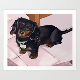 Frisky Dog Portrait Art Print
