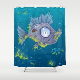 Zombie Fish Shower Curtain