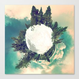 Tiny Snowy Forest Planet Canvas Print