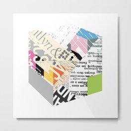 Newsprint Cube Metal Print
