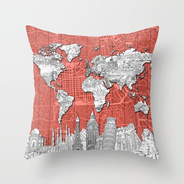 world map city skyline 9 Throw Pillow