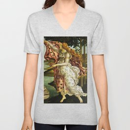 """Sandro Botticelli """"The Birth of Venus"""" detail - The Hora holding out a cloak for Venus Unisex V-Neck"""